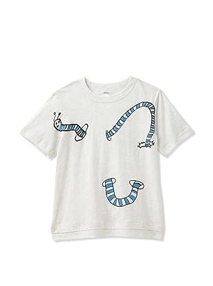 kicokids Boy's Peek-a-Boo Worm Graphic Tee (Milk)