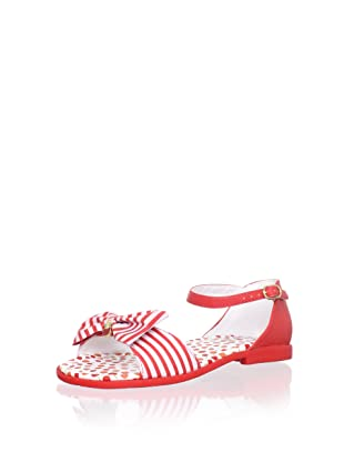 Pampili Kid's Striped Sandal with Bow (Red)
