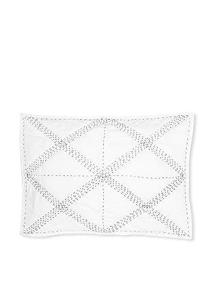 Jaipur Bedding Cross Bar Kantha Sham (White/Navy)
