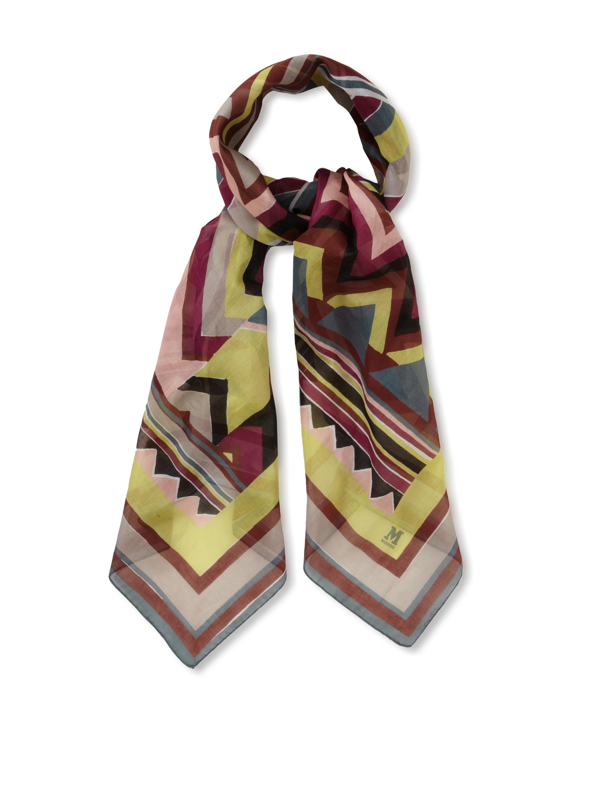 M Missoni Women's Zig-Zag Cotton Scarf, Multicolored, One Size