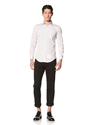 Thom Browne Men's Poplin Striped Shirt (Light Grey/Navy)