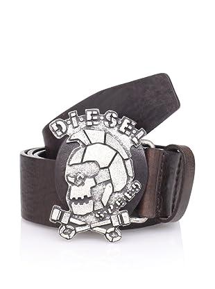 Diesel Men's Skullbuk Belt (Dark Brown)