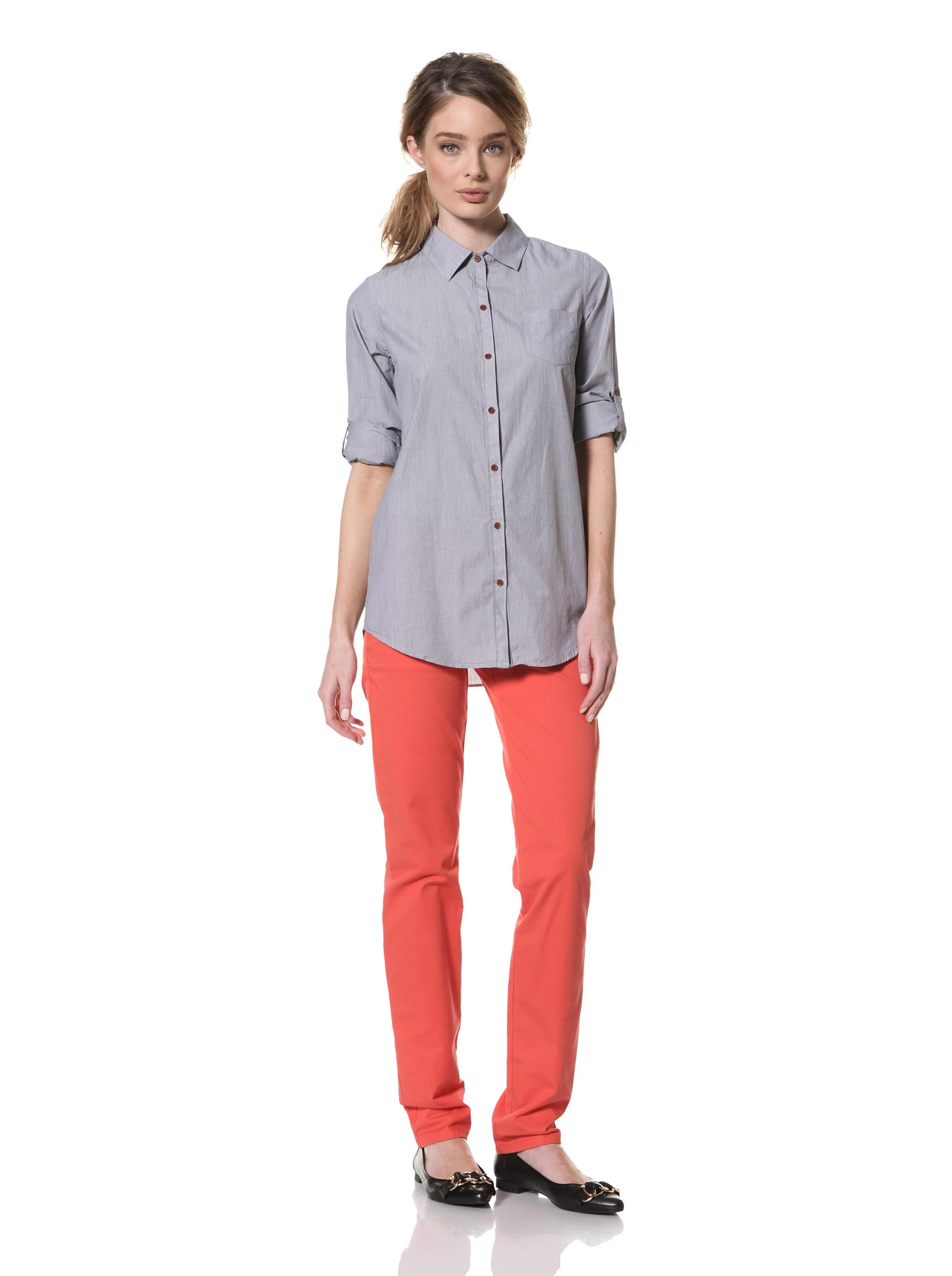 Trovata Women's Amalie Woven Shirt (Navy-Multi Stripe)
