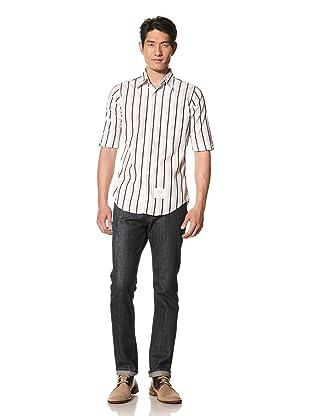 Thom Browne Men's Poplin Striped Shirt (Navy/White/Light Grey)