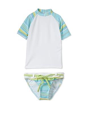 Azul Swimwear Girl's 2-Piece Sleek Simplicity Rashguard Swimsuit (Blue)