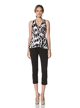 Kenneth Cole Women's Abstract Zebra Print Knit Top (Black Combo)