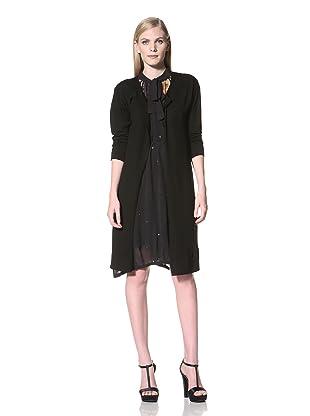 MEGAN PARK Women's Long Merino Cardigan (Jet/Black)