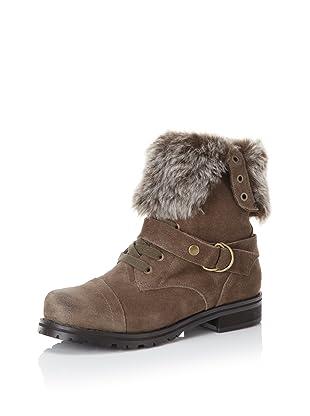 Kelsi Dagger Women's Gritina Faux Fur Flat Boot (khaki suede)