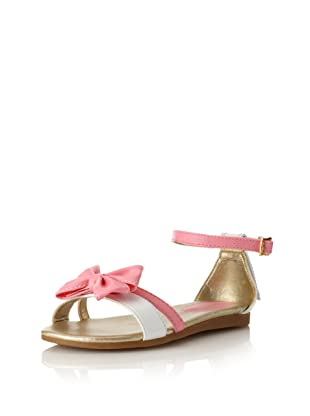 Pampili Kid's Ankle Strap Sandal with Bow (Rose/White)