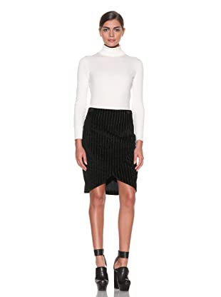 Costume National Women's Velvet Skirt (Black Pinstripe)