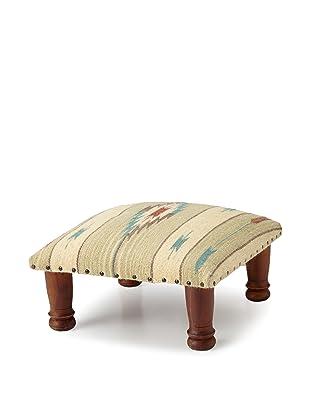 La Boheme Upholstered Foot Stool (Turquoise)