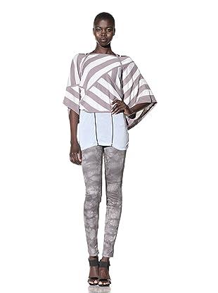 L.A.M.B. Women's Rectangular Striped Sweater (Medium Grey/Glacier)
