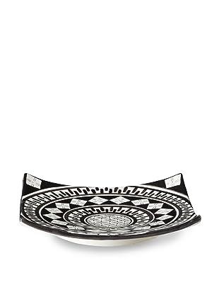Hand-Painted Ceramic Square Plate (Black/Cream)