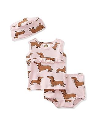 Barn Organics Baby Girl's Tank & Panty Set with Hat (Hot Dog)