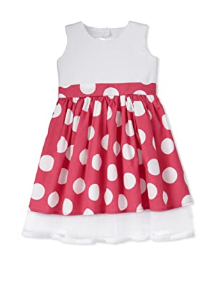 Noa Lily Girl's Dot Party Dress (White/Hot Pink)