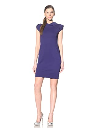 Yoana Baraschi Women's Virtual Land Draped Neck Sheath Dress (Bright Blue)