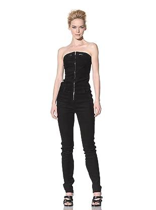 Haider Ackermann Women's Strapless Suede Catsuit (Black)