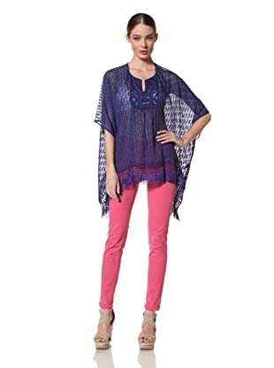 Anna Sui Women's Mixed Solid Silk Jacquard Tunic (Electric Blue)