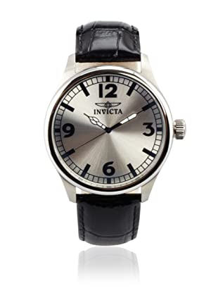 Invicta Men's 11416 Specialty Silver Dial Black Leather Watch