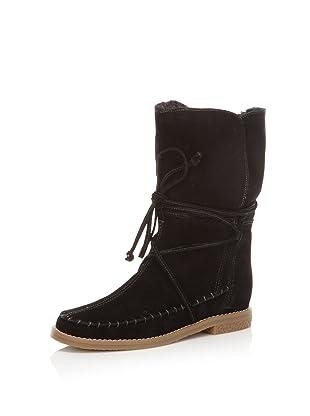 Jack Rogers Women's Little Nell Faux Fur Boot (Black Suede)