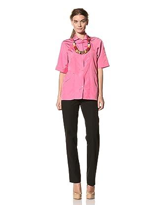 MARNI Women's Short Sleeve Button Front Shirt (Pink)