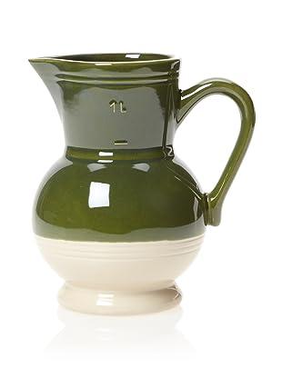 Emile Henry Pitcher, Olive/Cream, 1-Qt.