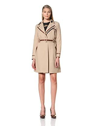 MARTIN GRANT Women's Trench Coat with Leather Trim (Beige)