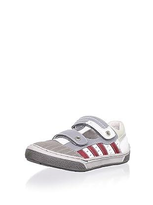 Billowy Kid's Dual Strap Sneaker (Grey/Red)