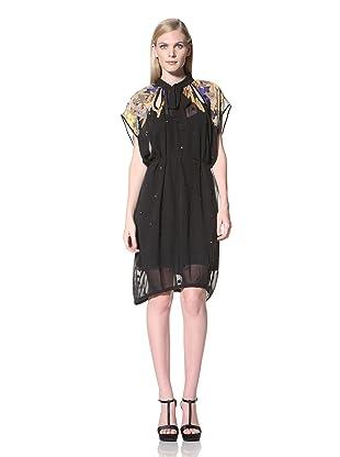 MEGAN PARK Women's Printed Shoulder Dress with Cutouts (Indigo Bright)