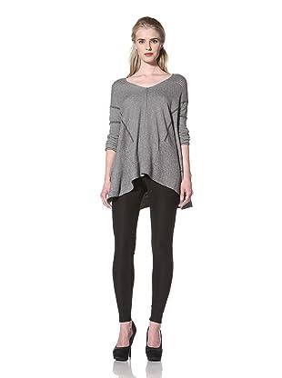 L.A.M.B. Women's Stripe Oversize Sweater (Cloud/Heather Grey)