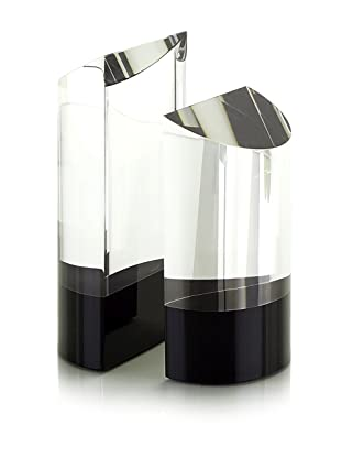 John-Richard Collection Set of 2 Clear/Black Optical Glass Bookends