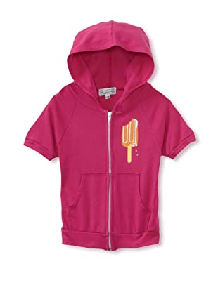 LA Lounge Girl's Popsicle Short Sleeve Hoodie (Magenta/Orange)