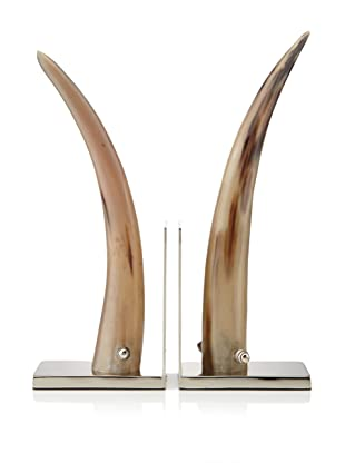 John-Richard Collection Set of 2 Natural Horn and Nickel Bookends