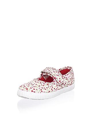 Cienta Kid's Floral Mary Jane Sneaker (Red)