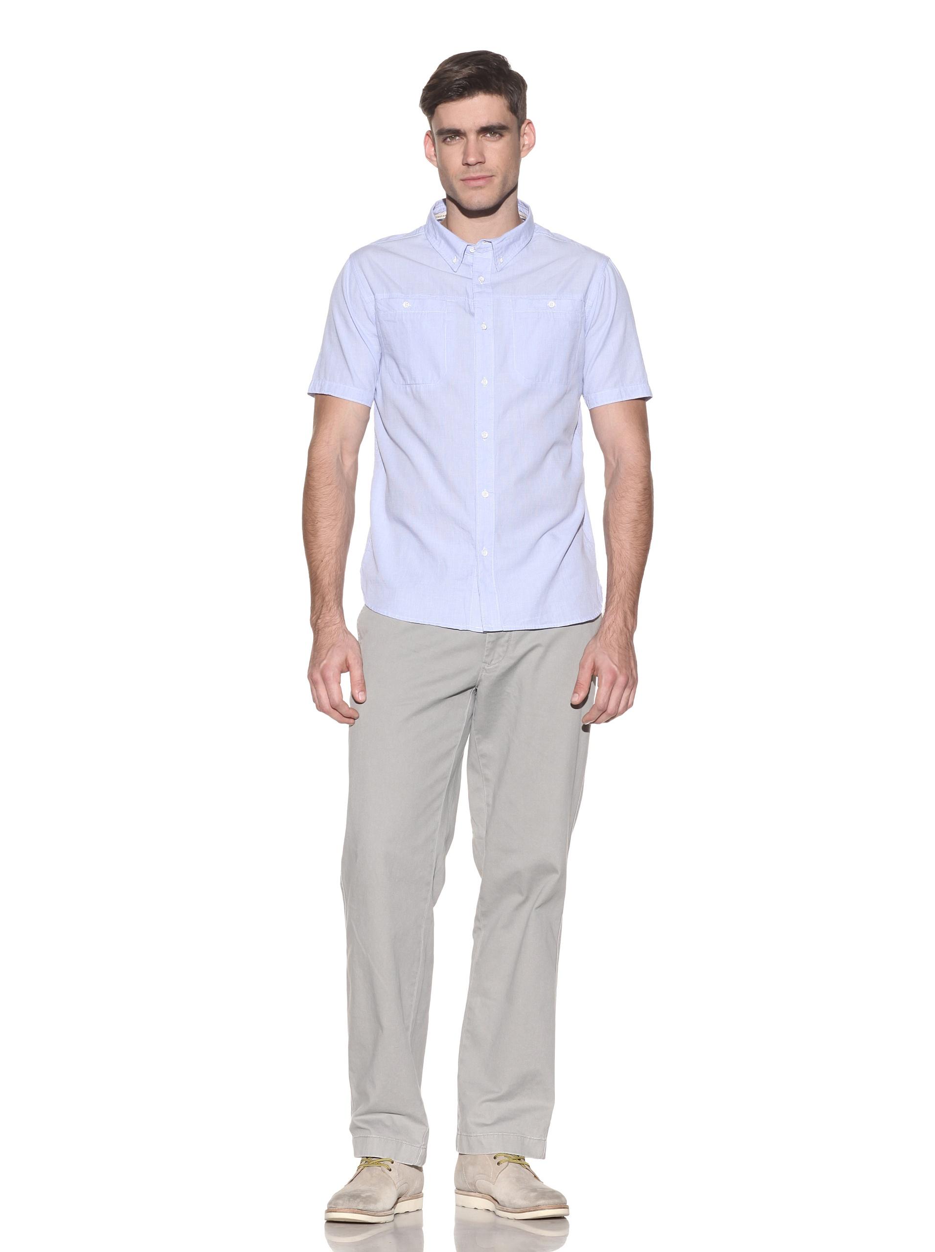 nüco Men's Short Sleeve Woven Chambray Shirt (Light Blue)