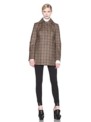 Costume National Women's Plaid Kick Pleat Coat (Brown)