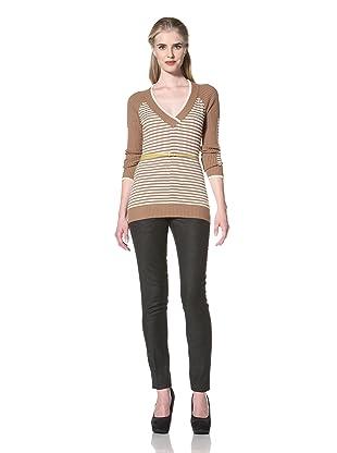 L.A.M.B. Women's Yarn Die Stripe Basic Sweater (Camel/Cream)