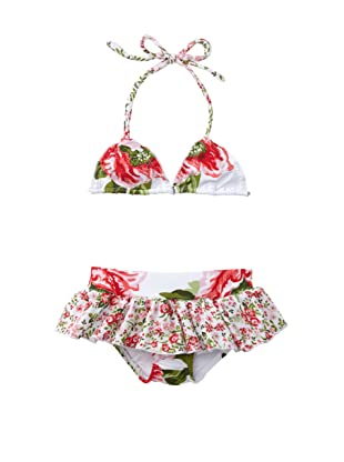 Flowers by Zoe Girl's Frilly Floral Print Bikini (Pink Multi/White)