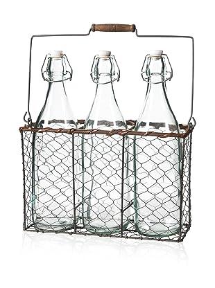 A&B Home 3 Bottle Vases in Basket