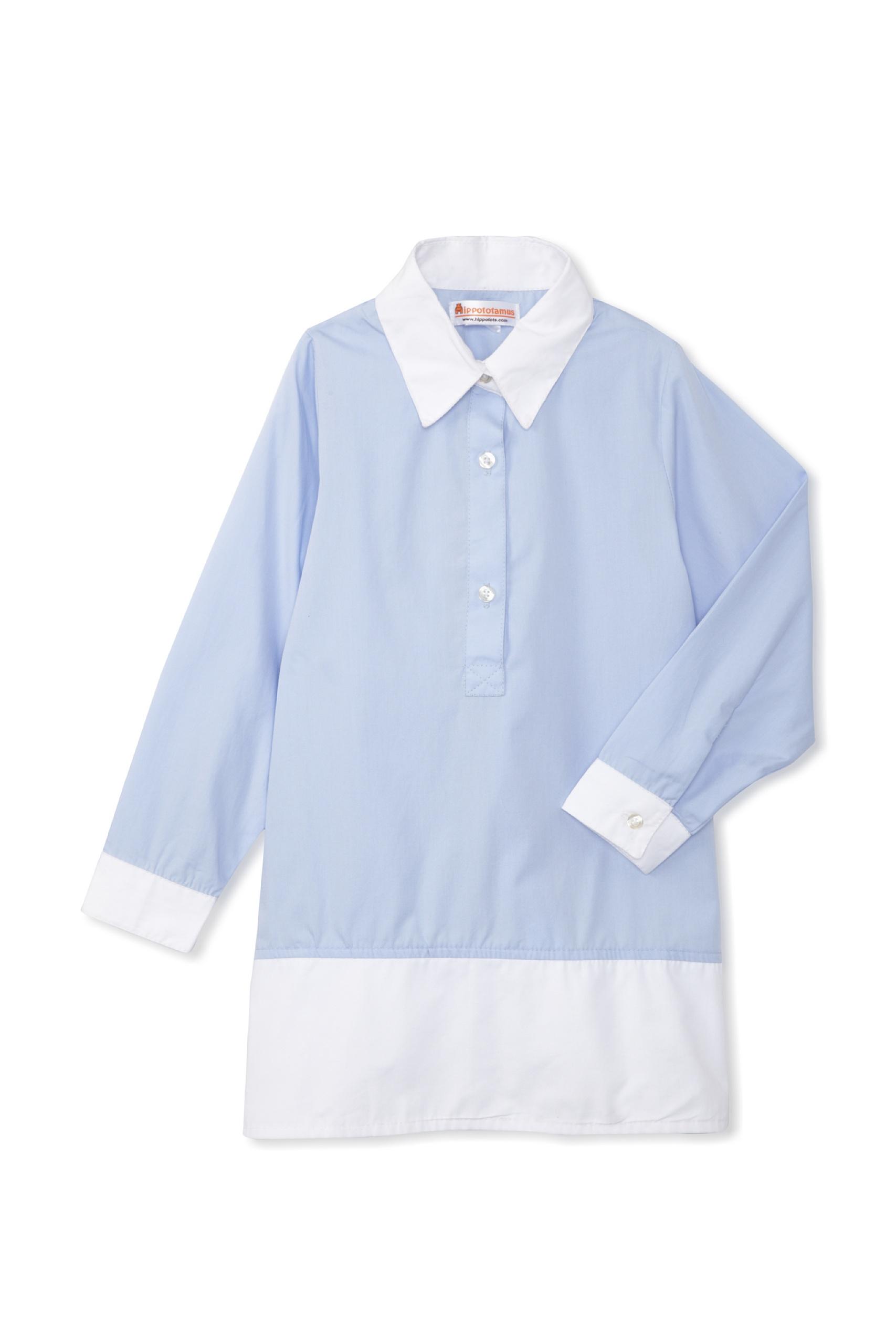 Hippototamus Button-Front Tunic Dress (Blue)