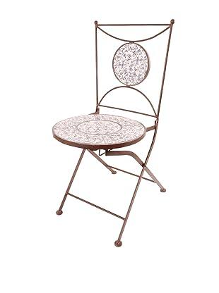 Esschert Design Aged Ceramic Bistro Chair, Blue/White