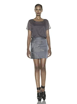 Costume National Women's Brocade Mini Skirt (Silver Blue)