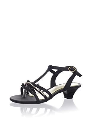 Pampili Kid's Kitten Heel T-Strap Sandal (Black)