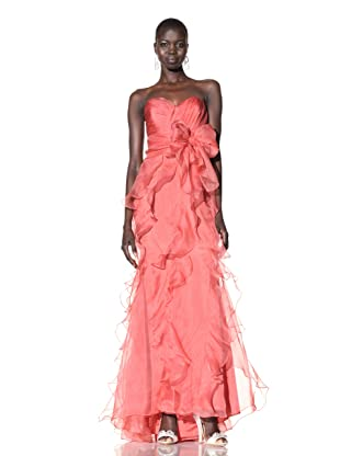 Badgley Mischka Women's Strapless Organza Gown with Ruffles (Coral)