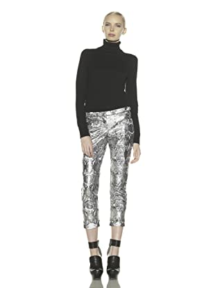 Costume National Women's Metallic Jacquard Cropped Pants (Lamé)