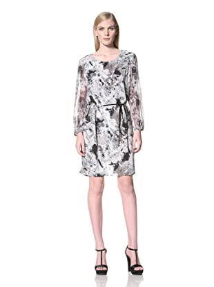 MEGAN PARK Women's Abstract Floral Printed Long Sleeve Dress (light)