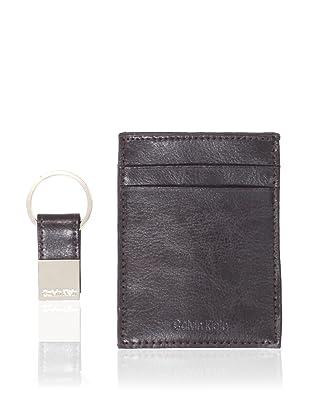 Calvin Klein Men's Front Pocket Clip Wallet/Key Fob Set (Brown)