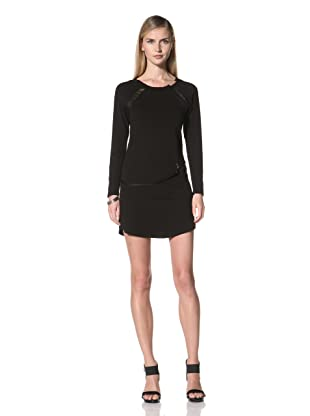 Poleci Women's Dress with Perforated Leather Trim (Black)