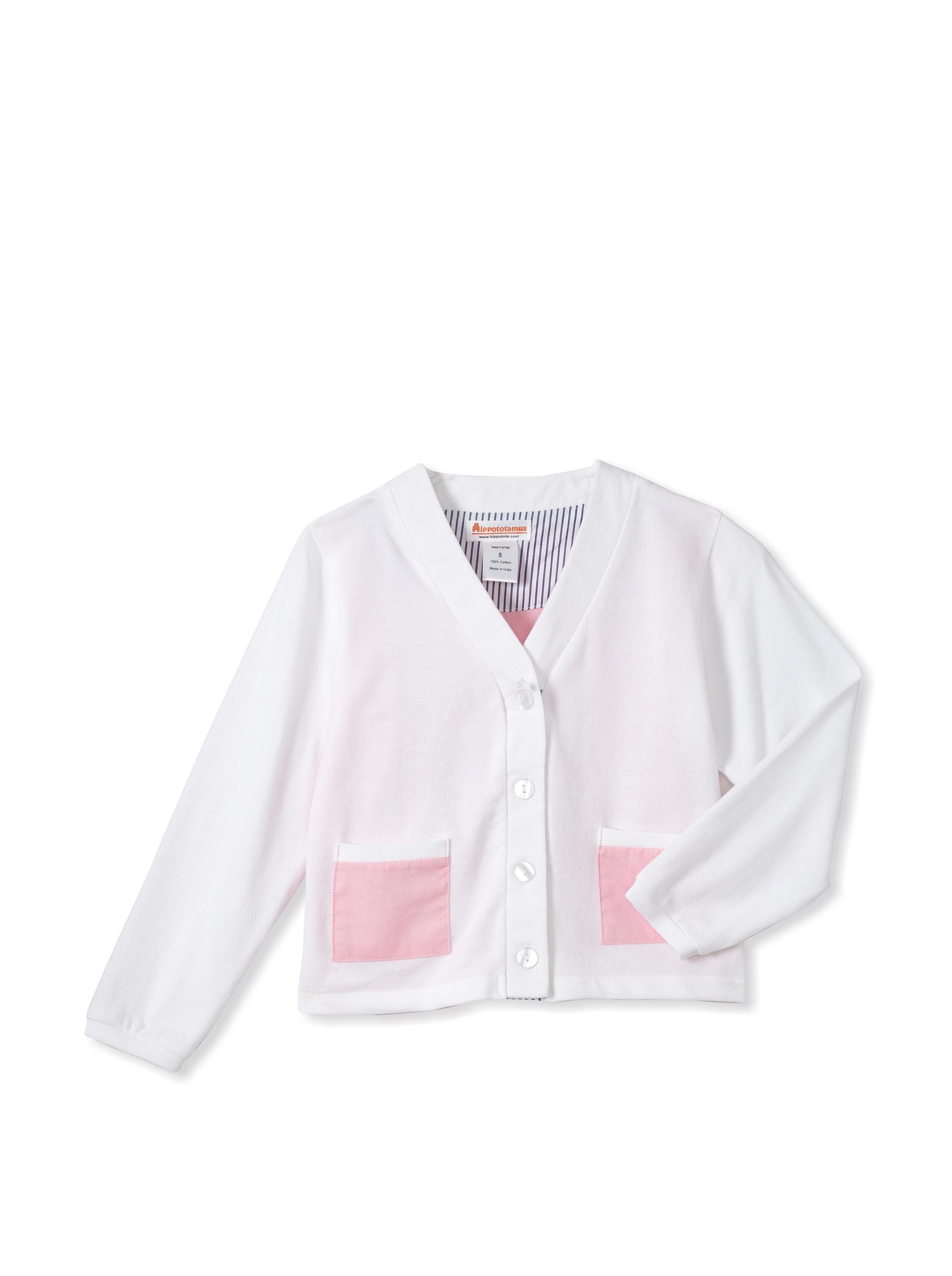 Hippototamus Piquet Cardigan (White/Pink)