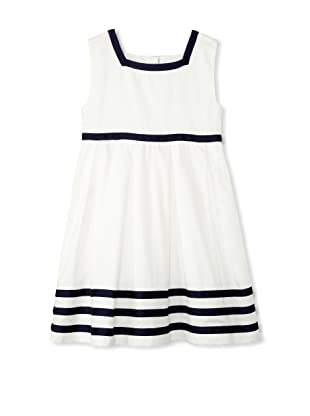 Rachel Riley Girl's Classic Ribbon Dress (Ivory/Navy)